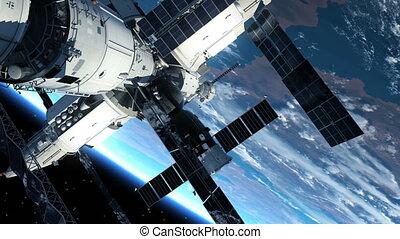 station, espace, astronaute, dehors