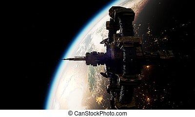 station, espace, international, la terre, planète, sur