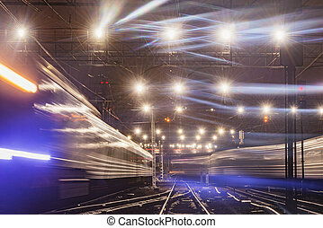 station, ferroviaire, nuit, vue, time.
