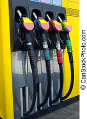 Station for refuelling motor transport. Only by the filled car it is possible to go in any direction