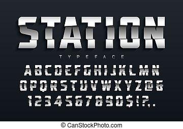 Station futuristic display typeface design, alphabet, sport