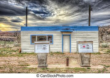 station, gas, övergiven