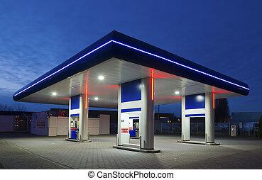 station, gas, natt