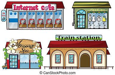 station, geschäfte, zug, verschieden