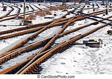 station, hiver, rails