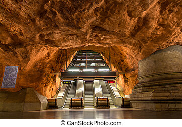 station, intérieur, radhuset, stockholm, métro