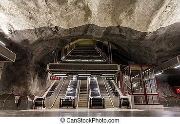 station, intérieur, stadshagen, stockholm, métro