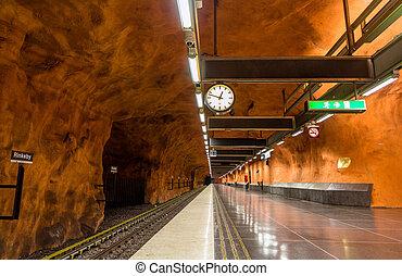 station, intérieur, stockholm, métro, rinkeby