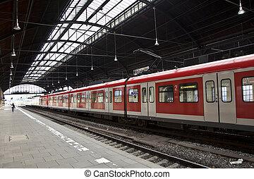 station, intérieur, train, fer, classique