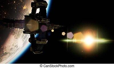 station, international, espace, planète, sur, la terre