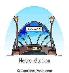 station, métro, ferroviaire, bâtiment, train, verrerie