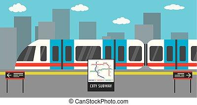 station, métro, moderne, ville, arrière-plan., train