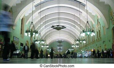 station, métro, mouvement, gens