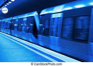 station, metro, blåkopia