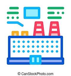 station, pictogram, schets, illustratie, thermisch, vector, technisch, analyse