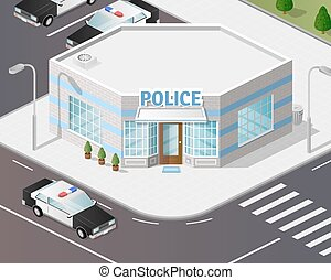 station., politie, illustratie