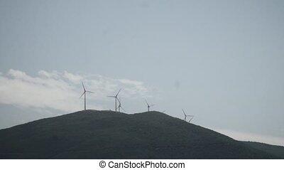 station, puissance, contre, ciel, turbine, -, bleu, vent