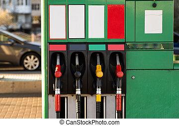 station., pumpar, gas, fyra, drivmedel