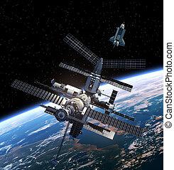 station, shuttle., espace