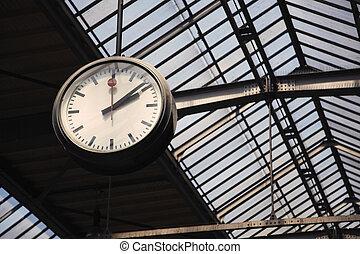station, tåg, gammal, klocka
