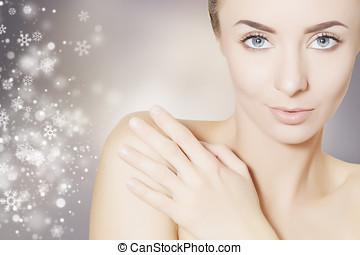station thermale beauté, portrait femme, à, noël, flocons neige, fond