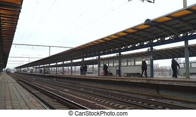 Station train railways - Subway train arrives at station