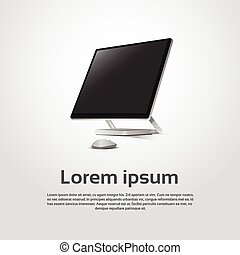 station travail, moderne, ordinateur bureau, logo, icône