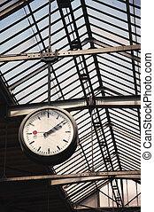 station, trein, oud, klok