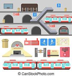 station, vector, bevestigingslijst, illustration., metro