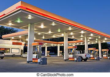 station, vente au détail, essence, magasin