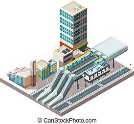 station., viaduct, público, edifícios, arquitetura, urbano,...