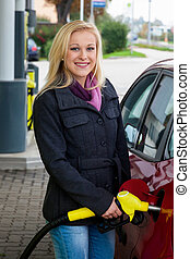 station, vrouw, gas, refuel