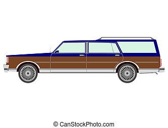 Station wagon - Retro estate car.