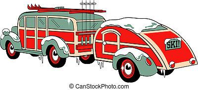 Station Wagon Sedan With Skis Retro - Retro or vintage style...