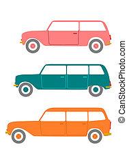 Station wagon. - Retro station wagon silhouette on a white...