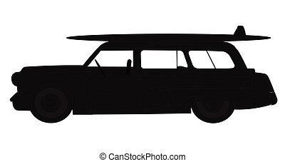 station wagon with surf board on roof  in silhouette