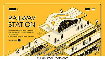 station, webpage, isométrique, moderne, ferroviaire
