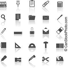 stationair, iconen, met, denken over, witte achtergrond
