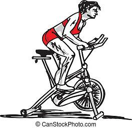 stationair, schets, vrouw, fiets, opleiding