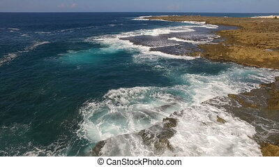 Stationary Aerial View North Shore Beach Waves Rocks Surf -...