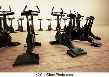 Stationary bike. - Stationary bicycle, exercycle is a device...