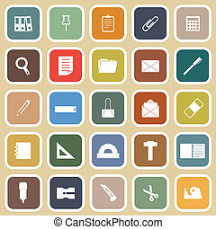 Stationary flat icons on yellow background, stock vector