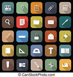 Stationary flat icons with long shadow, stock vector