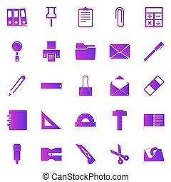 Stationary gradient icons on white background