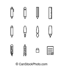 Stationary icon set outline style black color isolated on white background