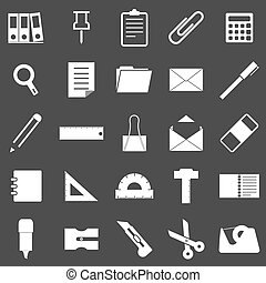 Stationary icons on gray background, stock vector