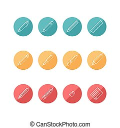 Stationary icons set white color debossed on colorful circle isolated on white background