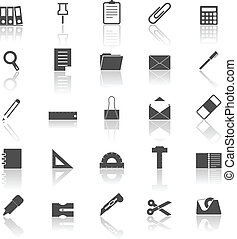 Stationary icons with reflect on white background, stock ...