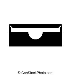 Stationary paper tray black icon .