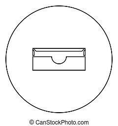 Stationary paper tray black icon in circle outline